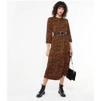 Brown Zebra Print Soft Touch Midi Dress New Look