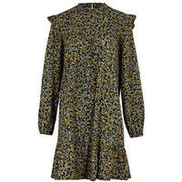 Blue Ditsy Floral Frill Smock Dress New Look