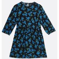 Black Floral Lattice Back Smock Mini Dress New Look