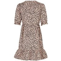 Brown Leopard Print Poplin Smock Dress New Look