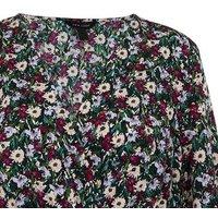Black Floral Wrap Tiered Mini Dress New Look