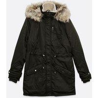 Tall Khaki Faux Fur Hooded Long Parka Jacket New Look