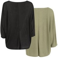2 Pack Black and Green Fine Knit Batwing Jumpers New Look