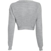 Cameo Rose Grey Knit Crop Jumper New Look