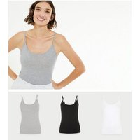 3 Pack Black White and Grey Camis New Look