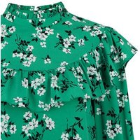 Tall Green Floral Print Frill Trim Blouse New Look