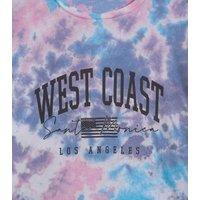 Girls Purple Tie Dye West Coast Slogan T-Shirt New Look
