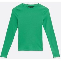 Green Ribbed Frill Trim Long Sleeve Top New Look
