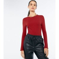 Red Ribbed Frill Trim Long Sleeve Top New Look