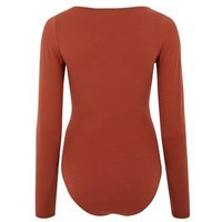 Rust Long Sleeve Seam Front Bodysuit New Look