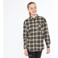 Girls Black Check Pocket Long Shirt New Look