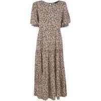 Tall Black Daisy Puff Sleeve Midi Dress New Look