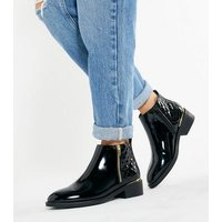 Black Patent Quilted Panel Zip Ankle Boots New Look Vegan