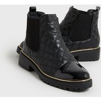 Black Quilted Patent Toe Chelsea boots New Look Vegan