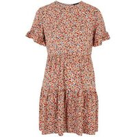 Petite Red Floral Frill Smock Dress New Look