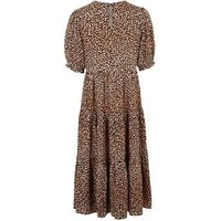 Petite Brown Leopard Print Smock Midi Dress New Look