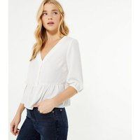 Petite White Button Up Peplum Blouse New Look