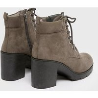 Grey Suedette Lace Up Chunky Block Heel Boots New Look Vegan