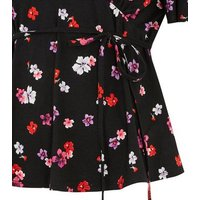 Petite Multicoloured Floral Tie Waist Top New Look