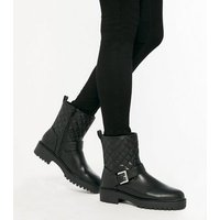 Black Quilted Buckle Chunky Biker Boots New Look Vegan