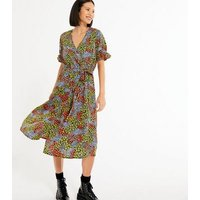 Black Mixed Floral Puff Sleeve Midi Dress New Look