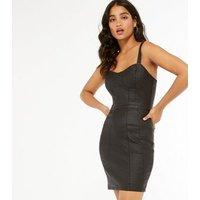 Urban Bliss Black Coated Bustier Bodycon Dress New Look