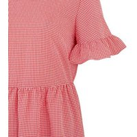 Red Gingham Tiered Mini Smock Dress New Look