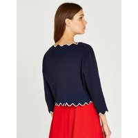 Apricot Navy 2 Tone Scallop Shrug New Look