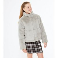 Girls Grey Faux Fur Puffer Jacket New Look