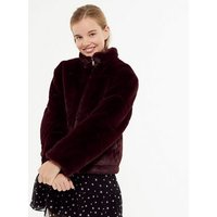 Girls Burgundy Faux Fur Puffer Jacket New Look