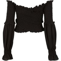 Black Shirred Puff Sleeve Crossover Top New Look