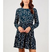 Blue Vanilla Teal Floral Long Sleeve Tunic Dress New Look