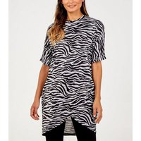 Blue Vanilla Black Tiger Print Asymmetric T-Shirt Dress New Look