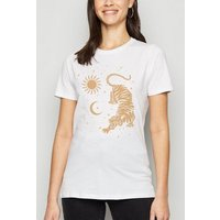 White Mystic Tiger Print T-Shirt New Look