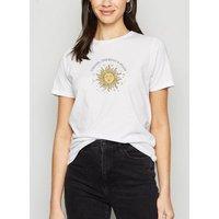 White Mystic Sun Moon Stars Slogan T-Shirt New Look
