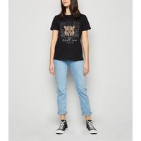 Black Fearless Lion Slogan Rock T-Shirt New Look