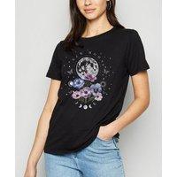 Black Mystic New Moon Floral Slogan T-Shirt New Look