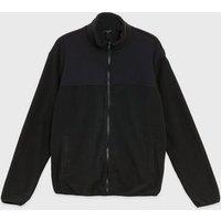 Mens Black Fleece High Neck Jacket New Look