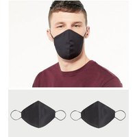 2 Pack Black Reusable Charity Face Coverings New Look