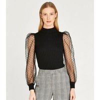 Apricot Black Spot Mesh Puff Sleeve Top New Look