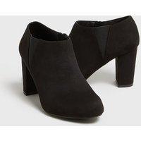Wide Fit Black Suedette Block Heel Shoe Boots New Look