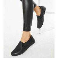 Black Faux Snake Slip On Trainers New Look