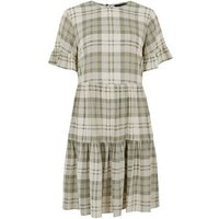 White Check Frill Sleeve Smock Dress New Look