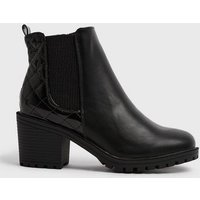 Wide Fit Black Quilted Patent Panel Heeled Boots New Look Vegan