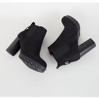 Wide Fit Black Ring Back Heeled Chelsea Boots New Look Vegan