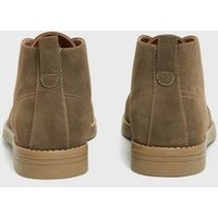 Mens Stone Lace Up Desert Boots New Look