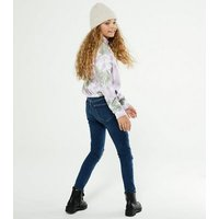Girls Bright Blue Rinse Wash Ripped Jenna Skinny Jeans New Look