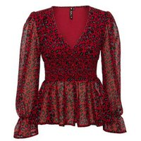 Influence Red Leopard Print Shirred Peplum Blouse New Look