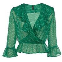 Influence-Green-Chiffon-Spot-Frill-Wrap-Blouse-New-Look