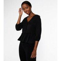 Tall Black Button Up Peplum Blouse New Look